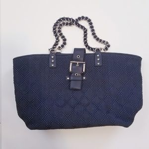 Ann Taylor Navy Woven Chain Buckle Tote Bag